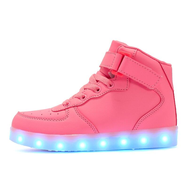 High-Top Children Boys Girls USB LED Light Luminous Shoes Kids Flashing Sneakers
