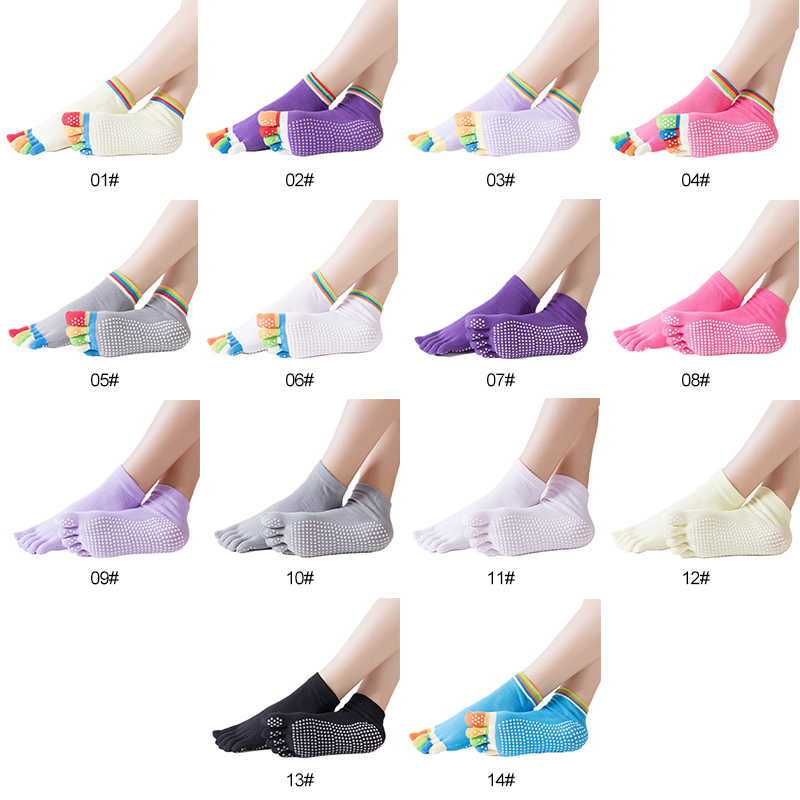 Frauen Sport Bunte Yoga Socken Hot Fitness Pilates Baumwolle Socken Regenbogen Workout Anti Slip Kappe Yoga Socken Atmungsaktiv