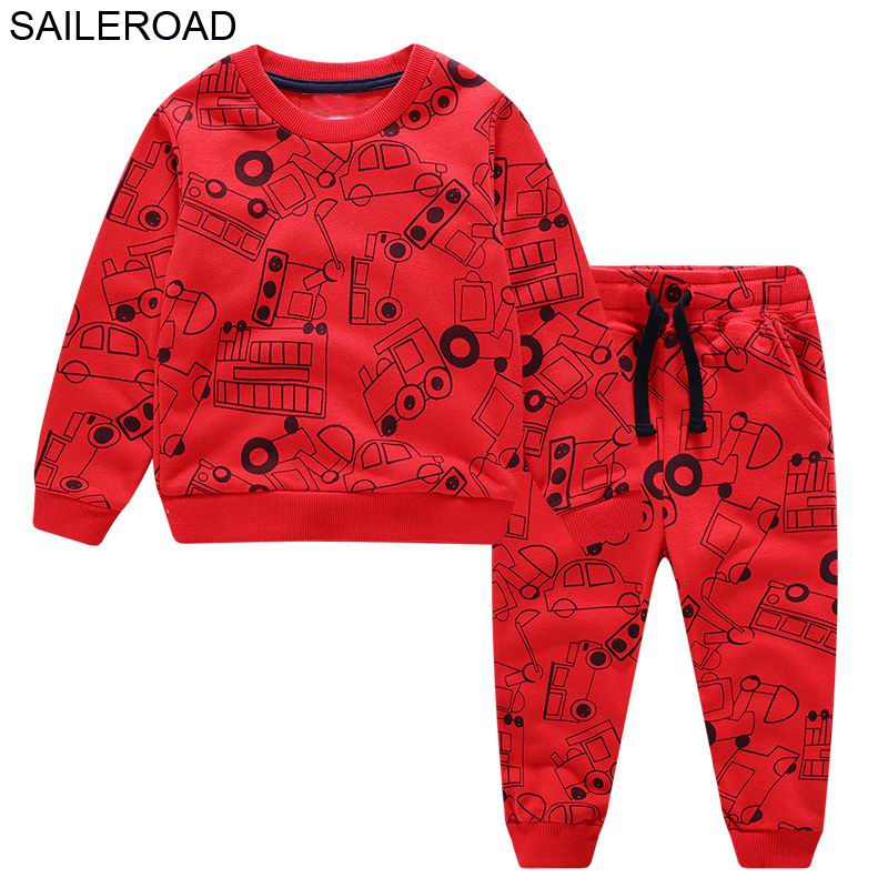 SAILEROAD Children Autumn Clothes Baby Boys Cartoon Clothing Sets Cute Cat Printed Warm Sweatsets for Baby Boys Kids Clothing in Clothing Sets from Mother Kids