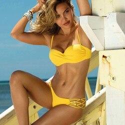 Сексуальный большой купальник пуш-ап бикини женский купальник размера плюс пляжный женский купальник бикини купальный костюм бразильский ... 4