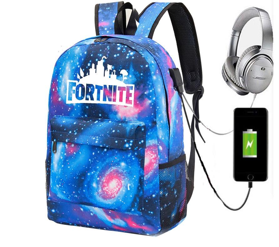 Game Related Mobilefortress Night Fortnite School Bag Backpack Luminous Starry CHUSIHAI Backpack USB Canvas Bag