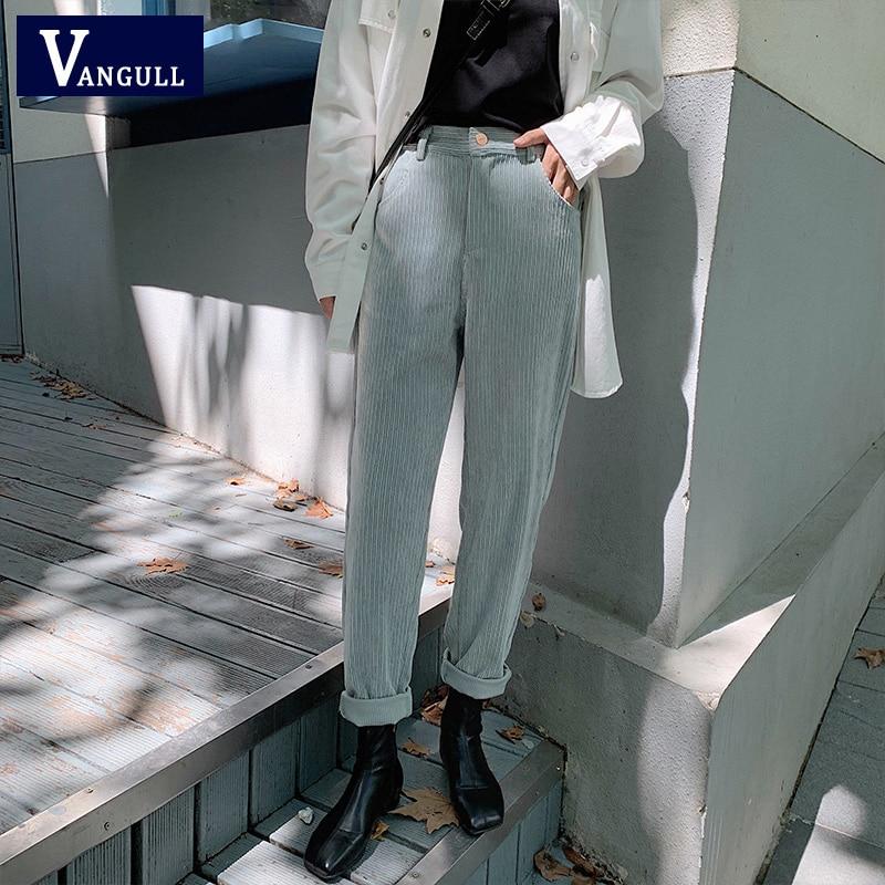 VANGULL Spring Women Corduroy   Pants   2020 New Fashion Casual High Waist Female Straight   Pants   Streetwear Women Trousers   Capris