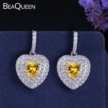 Fashion Women Sterling Silver 925 Jewelry Lovely Heart Cut Yellow Cubic Zirconia Stone Dangle Earrings For Engagement Party E048 lotus fun moment real 925 sterling silver natural blue stone fashion jewelry cute hollow out honeybee dangle earrings for women