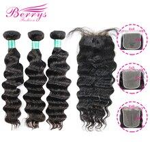 Berrys ファッションバンドル 4x 4/5x 5/6 × 6 閉鎖ペルーバージンヘア 100% 人毛未処理毛横糸 10 28 インチ