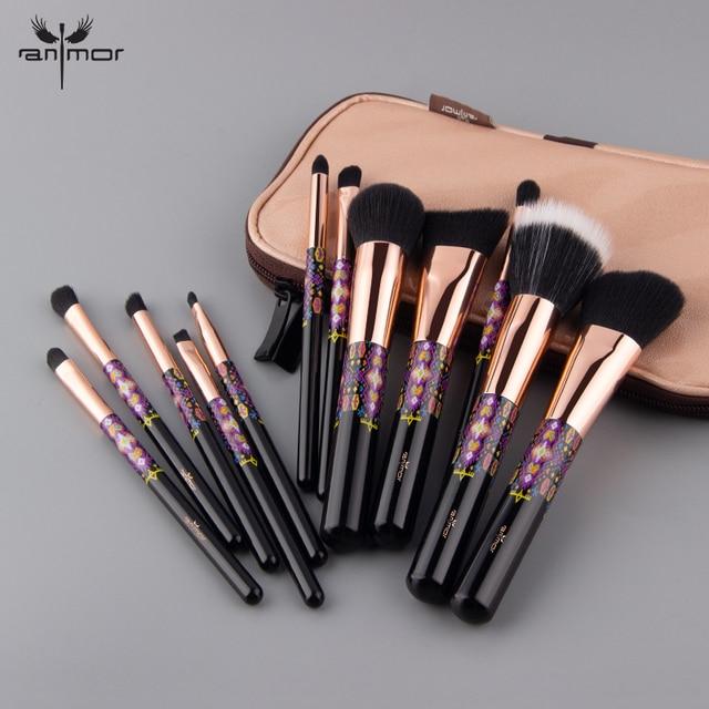 Anmor 12/8PCS Makeup Brushes Powder Foundation Blush Eye Shadow Concealer Eyeshadow Set Make Up Brush Tools Cosmetics Bag 3