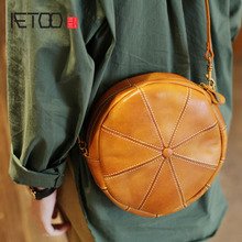 AETOO New original designer round cowhide handbags handmade leather shoulder slung  literary