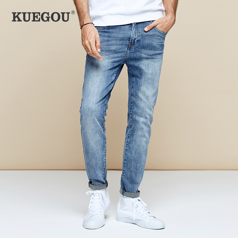 KUEGOU 2019 Autumn Cotton Blue Skinny Jeans Men Streetwear Brand Slim Fit Denim Pants For Male Hip Hop Stretch New Trousers 2965