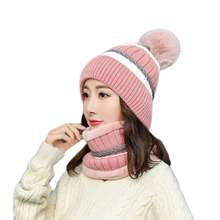 High Quality Hot Girl Hat Ski Pompons Fur Ball Knitted Beanie Hats Scarf Riding Set Winter Women Thick Skullies Cap Female