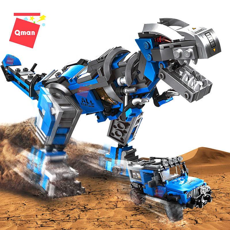 QMAN تجميع بنة ديناصور أشكال حيوانات العالم الخالق الميكانيكية التنين نماذج من الشاحنات التكنولوجيا التعليمية لتقوم بها بنفسك اللعب