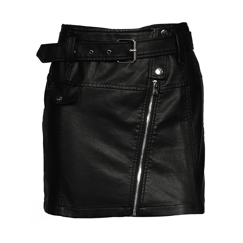 Leather High Waist Vintage A-line Office Solid Mini Skirt