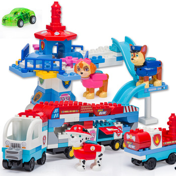 цена на Paw patrol Cartoon puzzle building block bus watchtower large particles assembled dog patrol team assembled educational Xmas toy
