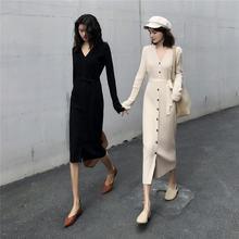 Платье осеннее женское 2019 французское нишевое Ретро однобортное