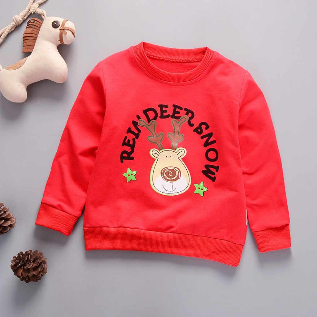 유아 어린이 크리스마스 스웨터 유아 어린이 아기 소녀 소년 만화 편지 긴 소매 스웨터 풀오버 탑 4 색