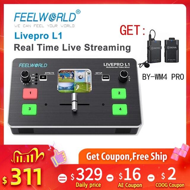 FEELWORLD LIVEPRO L1 Multi format Video Switcher Mixer 4 x HDMI Cable Compatible multi camera  live streaming VS Blackmagic Atem