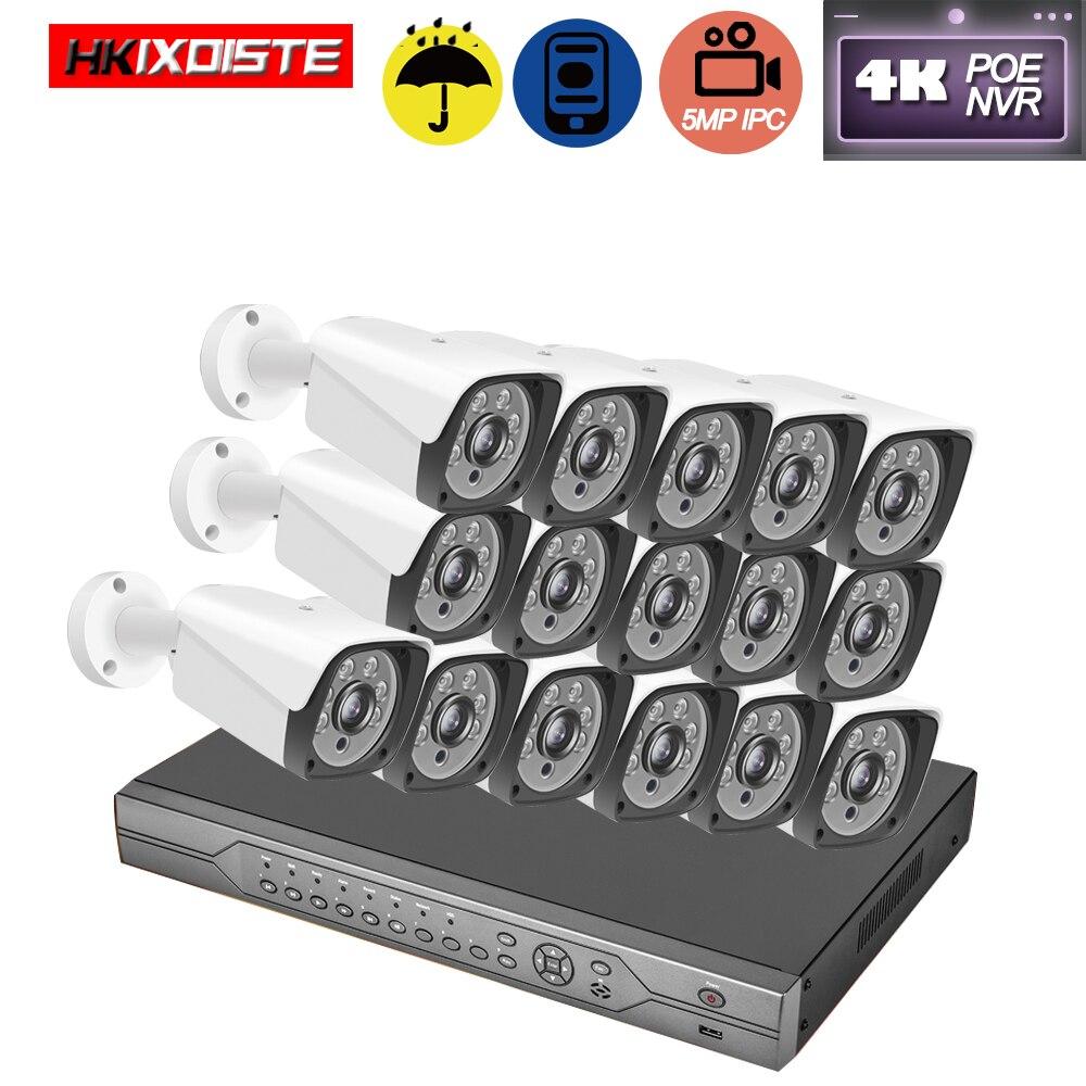 H.265 16CH 5MP 4K HD POE NVR Kit CCTV System IP66 AI IP Camera Matrix of 6Pcs IR LED Array P2P Video Security Surveillance Set