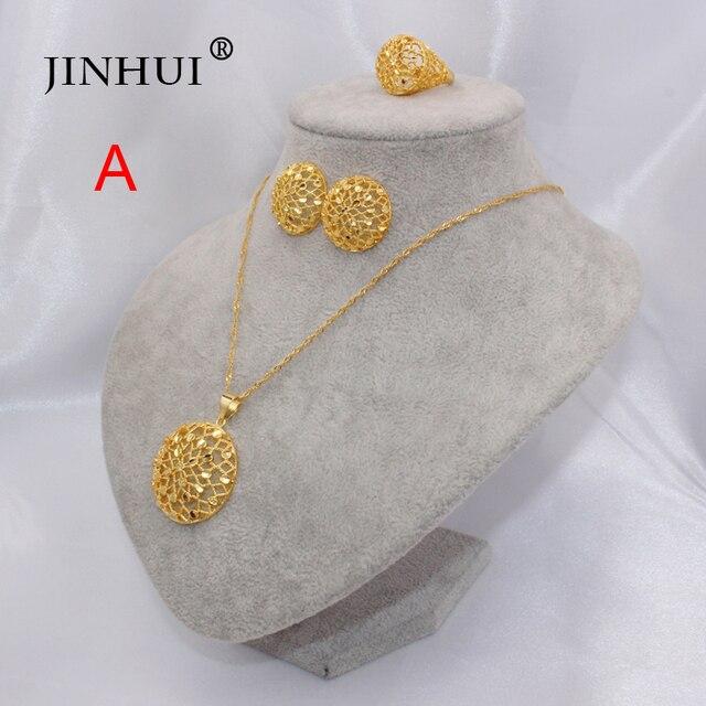 Etiópia 24k ouro cor dubai conjuntos de jóias feminino africano festa presentes de casamento colar e brincos anel conjuntos 45cm pingente presentes 3