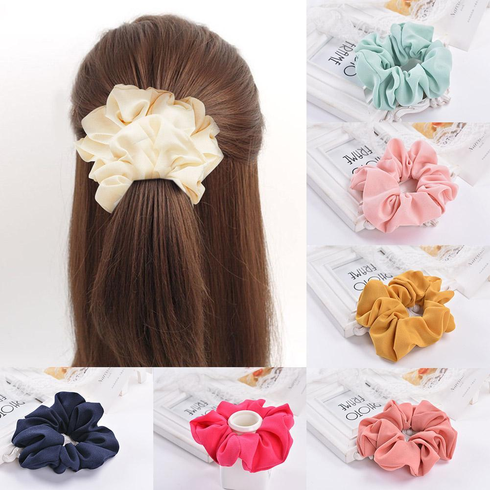 Solid Color Hair Bows Women Elastic Hair Rope Ring Tie Scrunchie Ponytail Holder Hair Band Headband   Headwear   Hair Rope Jewelry