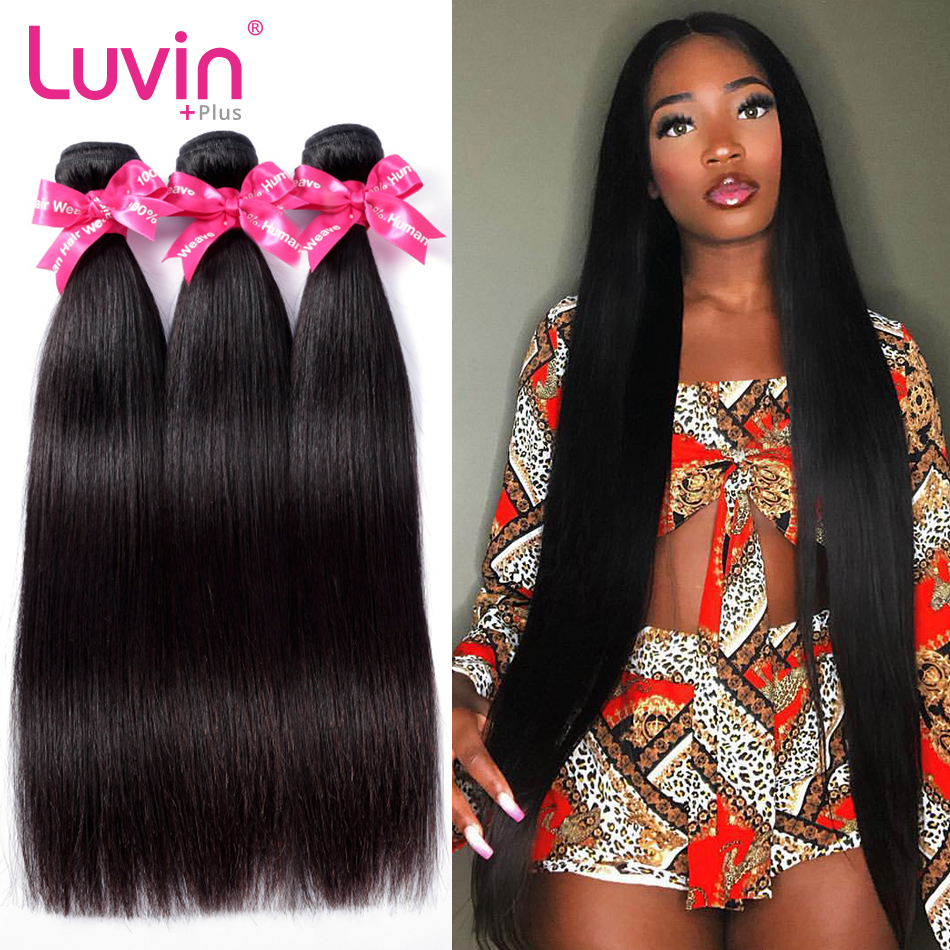 <font><b>Luvin</b></font> <font><b>Hair</b></font> Straight 8-40 30 28 Inch Brazilian <font><b>Hair</b></font> Weave 3 Bundles Deal Raw Virgin <font><b>Hair</b></font> Natural Color Double Drawn image