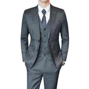 2020 Casual garnitury męskie 3 sztuka męskie garnitury zestawy Groomsmen garnitury ślubne S-5XL tanie i dobre opinie NOBLE BRIDE Poliester Groom wear Przycisk fly Pojedyncze piersi 110121 Men Suits