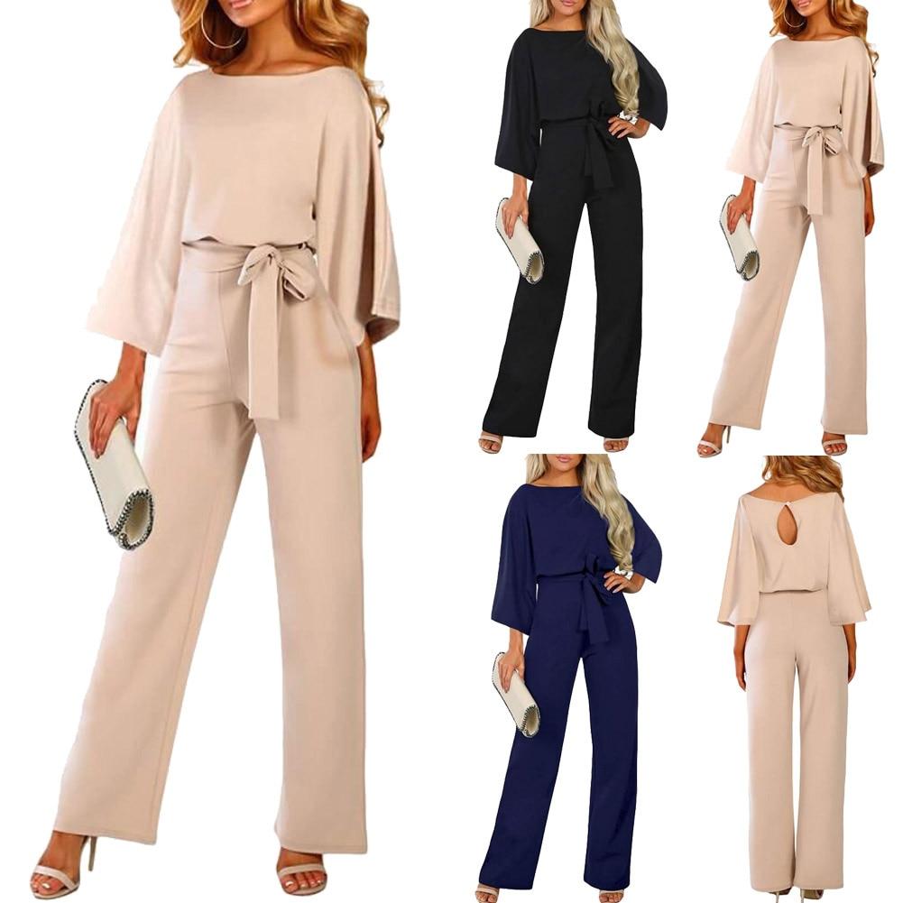 2019 Female Fashion Jumpsuits Women Autumn Cotton  Long Sleeve Bow Belt Casual Loose Romper Trousers Ladies Pants New