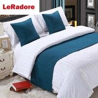 Luksusowe stałe bieżnik na łóżko Hotel zestaw szalików narzuty ochraniacz łóżko szal dekoracyjny król Hotel 100% pościel poszewka niebieski w Bieżniki od Dom i ogród na