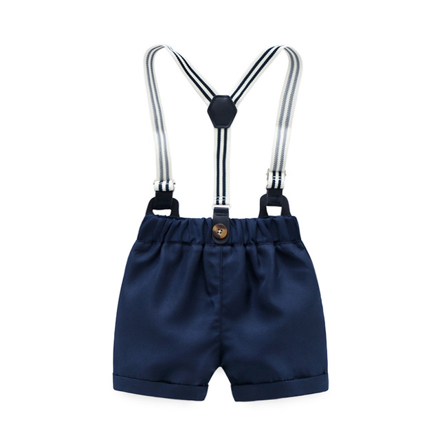 Baby Boy Clothes Romper, Bow, Navy Shorts, Suspenders Belt Sets