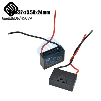 CBB61 Starting Capacitance AC Fan Capacitor 2 Wires 1.5UF/450V AC Terminal Ceiling Fan Motor Rectangle Capacitor image