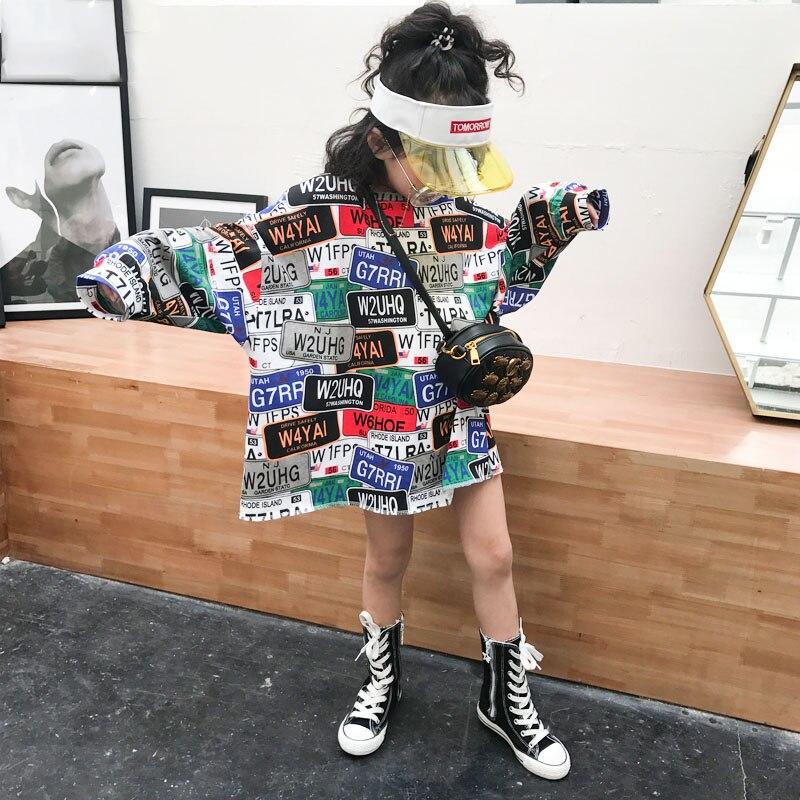 Girls New Hong Kong Style Casual Loose Hip-hop Letters Graffiti Split T-shirt 2019 Spring Shirt Bottom Shirt Tide