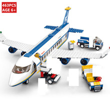 463Pcs City Airplane Airport Airbus Aircraft Plane Building Blocks Sets LegoINGLs Avion Technic DIY Bricks Toys for Children b0366 b0365 abs 43 28cm airplane aircraft building blocks airbus city bus w 7 dolls model toys for children kids training gift