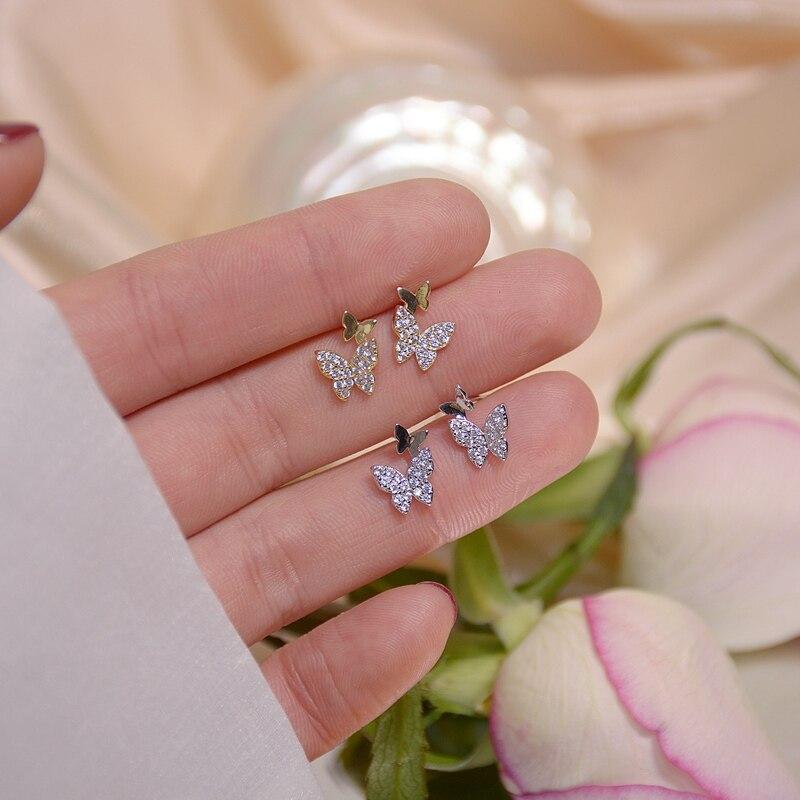 MENGJIQIAO New Korean Elegant Cute Rhinestone Butterfly Stud Earrings For Women Girls Boucle D'oreille Jewelry Gifts