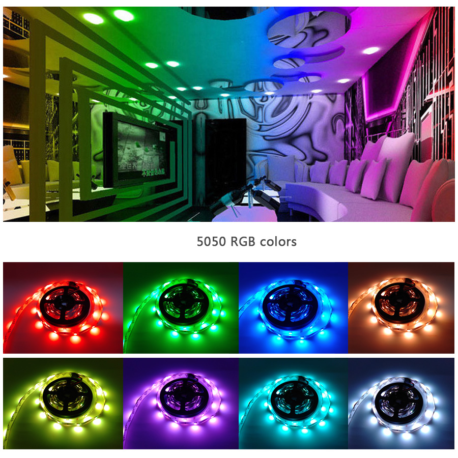 led strip 5050 dc12v led light flexible rope neon rgb flexible tape light with power supply+IR Remote For Home kitchen Christmas (9)