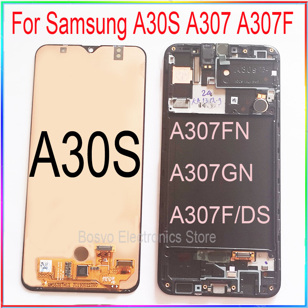 For Samsung A30S LCD Screen Display A307 A307F With Touch With Frame Assembly Replacement Repair Parts
