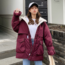 KMVEXO 2019 Fashion Winter Hooded Medium And Long Section Jacket Sleeve Warm Thicken Big Pocket Loose Parkas Women