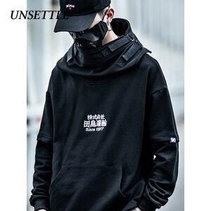 Image 1 - Unsettle Vis Mond Japanse Harajuku Borduurwerk Tactiek Streetwear Hoodies Hip Hop Mannen Trui Hoodie Casual Sweatshirts Tops