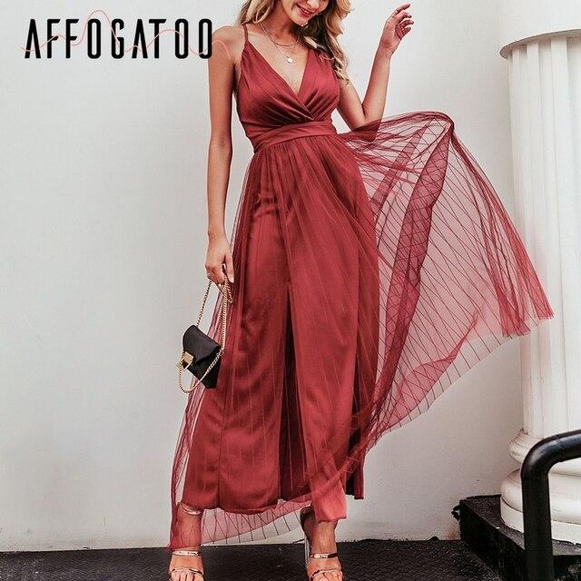 Affogatoo Sexy deep v neck backless summer pink dress women Elegant lace evening maxi dress Holiday long party dress ladies 2019 2