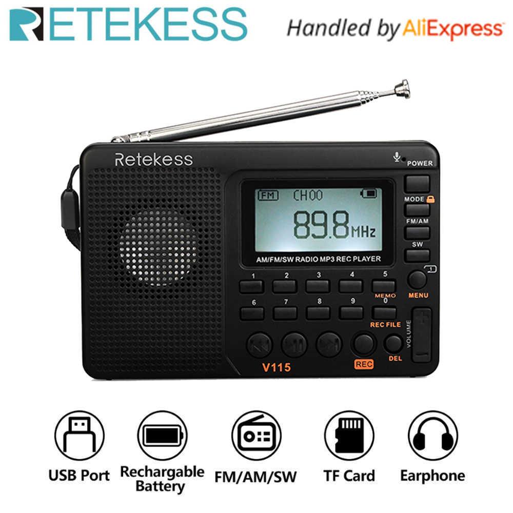RETEKESS V115 Đài Phát Thanh AM FM SW Bỏ Túi Đài Phát Thanh Sóng Ngắn FM Loa Hỗ Trợ Thẻ TF USB Ghi Âm Thời Gian Ngủ