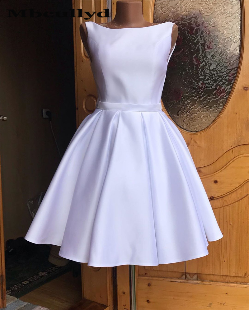Mbcullyd Short Stain Homecoming Dresses With Bow 2019 V Back Prom Party Gowns Vestido Mini White Graduation Gowns