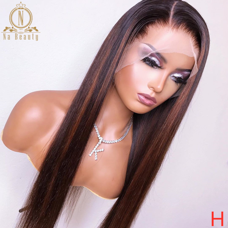 Black With Brown Highlight Wig HD Transparent Lace Wig Pre Plucked Ombre Color 13x6 Lace Front Human Hair Wig Remy Nabeauty 150%