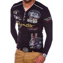 Мужская рубашка поло с длинным рукавом и v образным вырезом