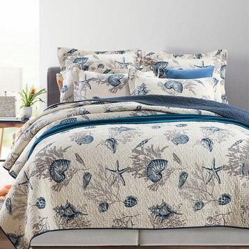 Покрывала в морском стиле с принтом, Хлопковое одеяло, комплект из 3 предметов, одеяла для кровати, Королевский размер, стеганое постельное б
