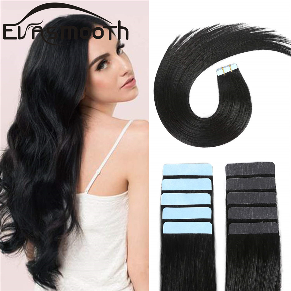 """EVASMOOTH Skin Weft Machine Remy Tape In Human Hair Extension 20pcs 40pcs 80pcs Adhesive Tape In Hair Extensions 12""""/16""""/20"""""""