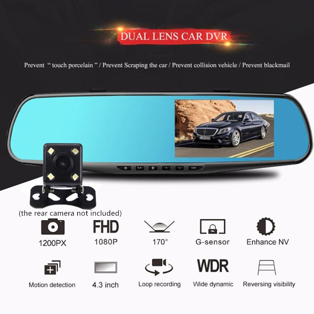 3.5 inch <font><b>Car</b></font> <font><b>DVR</b></font> <font><b>Mirror</b></font> <font><b>Car</b></font> <font><b>Dvr</b></font> Camera HD 1080P Rear View <font><b>Mirror</b></font> Digital Video Recorder Dual Lens Auto Dash Cam image