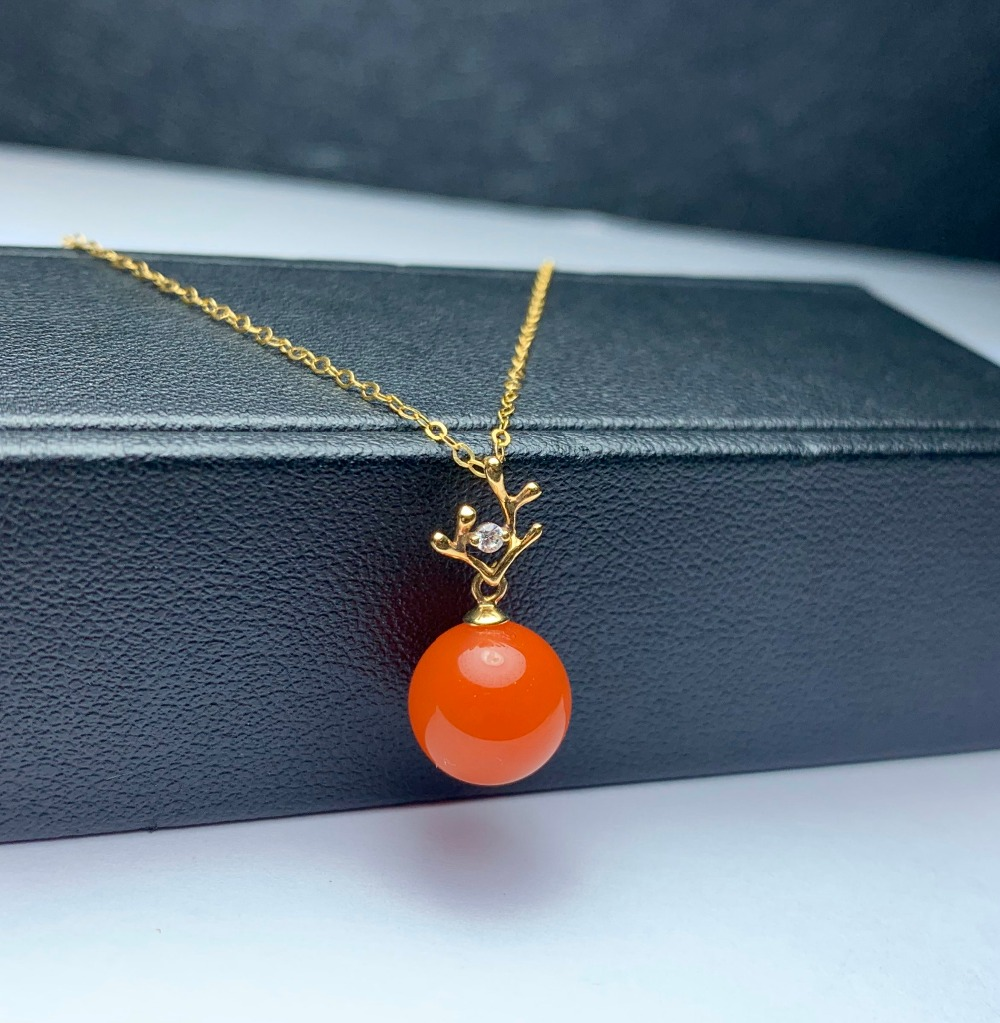 shilovem 18K yellow Gold Natural south Red agate pendants no necklace fine Jewelry classic gift plant gift new mymz9.5-10666nh