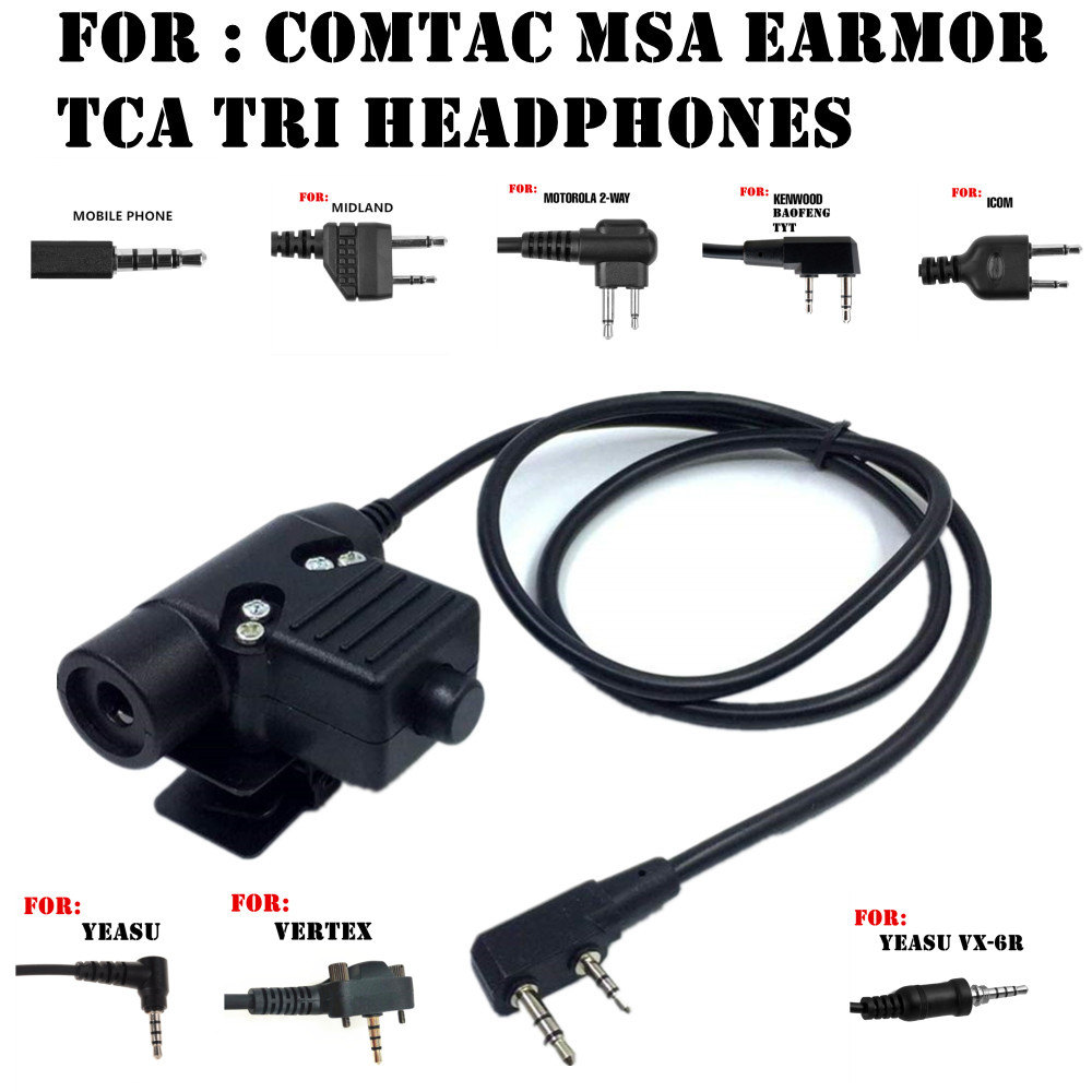 Tactical  U94 PTT Headset Accessory PTT For COMTAC MSA EARMOR TCA TRI Headphones For Baofeng Icom Midland Motorola YEASU Radio
