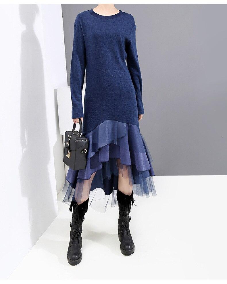 [New Fashion Style Blue Plaid Mesh Asymmetrical Long Dress Fashion Nova Clothing