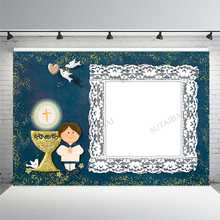 Welcome To First Communion Photography Backdrop Custom Child Party Decor Blue Background Cross White Pigeon Photocall Prop