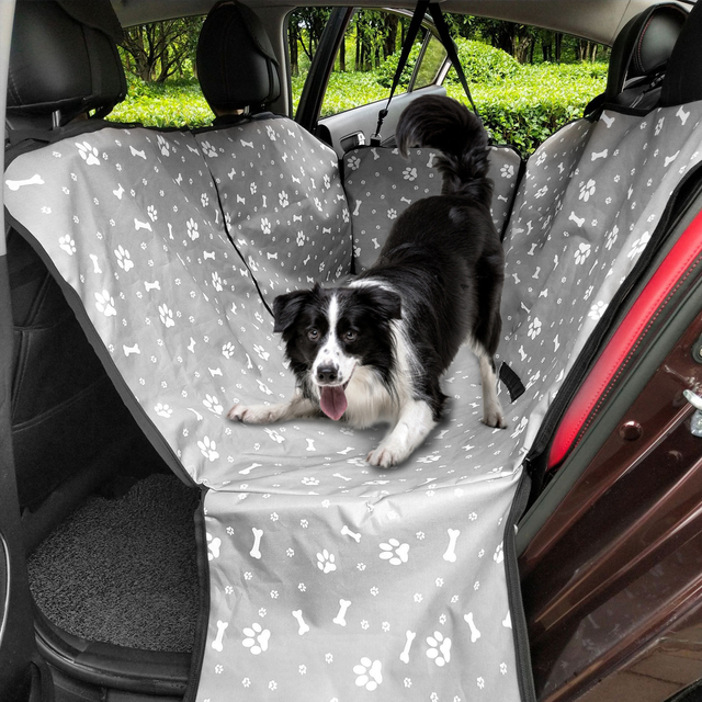 CAWAYI KENNEL Dog Carriers Waterproof Rear Back Pet Dog Car Seat Cover Mats Hammock Protector with Safety Belt Transporting- 4