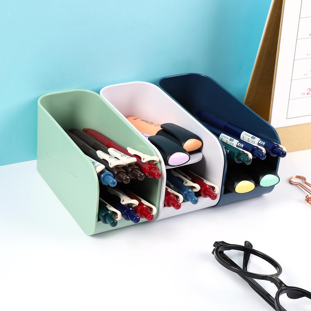 JIANWU Magnetic Bilayer Plastic Storage Box Creative Simplicity Pencil Box Cute Pen Container School Stationeries