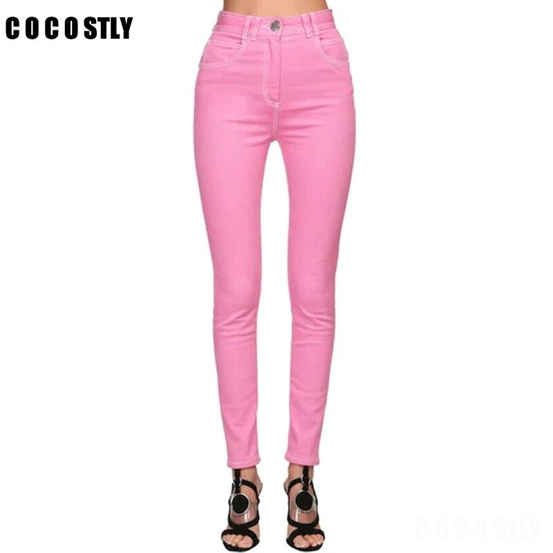 2020 jean Slim pour femmes Slim taille haute jean femme rose Denim crayon pantalon taille haute femmes jean pantalon Calca Feminina