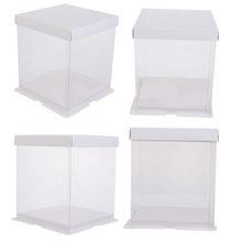 4 szt. 4-calowe dwuwarstwowe pudełko do pakowania ciastek pojemnik na ciasto przezroczyste pudełko ciasto do pakowania ciastek